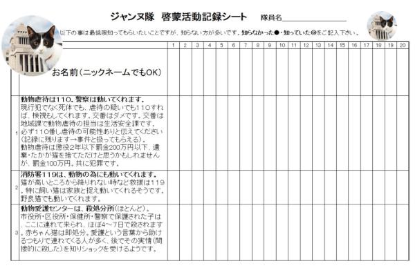 KIT⑨「ジャンヌ隊 啓蒙活動記録シート 3問編 」10枚 (20名×10枚=200人)